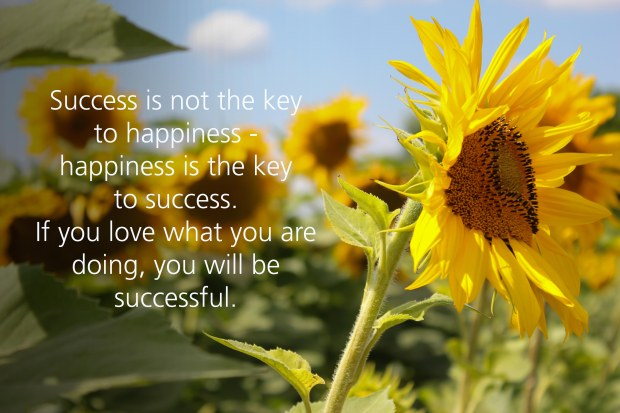 Success is not the key to happiness-happiness is the key to success. If you love what you are doing, you will be successful.